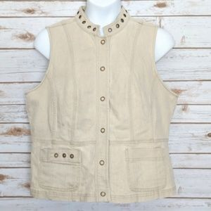 CJ Banks tan denim sleeveless vest snap front 1X